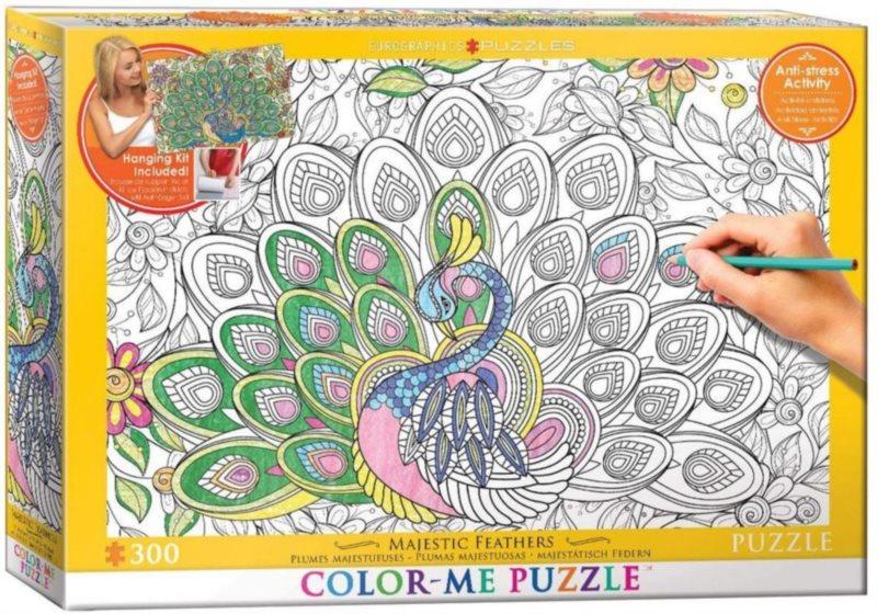 EUROGRAPHICS Color me puzzle Vznešené peří 300 dílků + sada na zavěšení