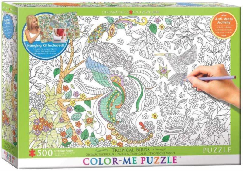 EUROGRAPHICS Color me puzzle Tropičtí ptáci 500 dílků + sada na zavěšení