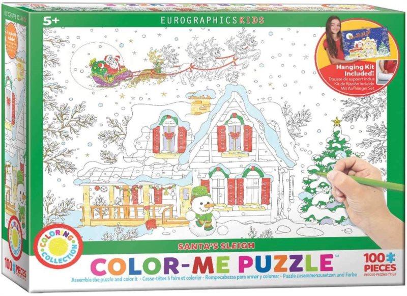 EUROGRAPHICS Color me puzzle Vánoční chaloupka 100 dílků + sada na zavěšení