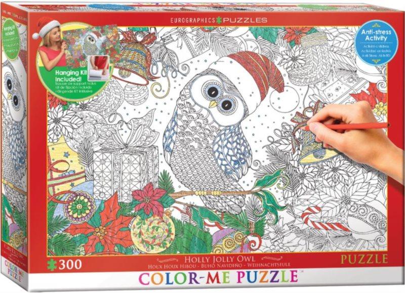 EUROGRAPHICS Color me puzzle Vánoční sova 300 dílků + sada na zavěšení