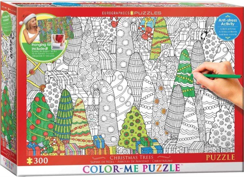 EUROGRAPHICS Color me puzzle Vánoční stromky 300 dílků + sada na zavěšení