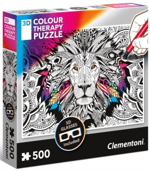 CLEMENTONI Colour Therapy puzzle Lev 500 dílků + 3D brýle