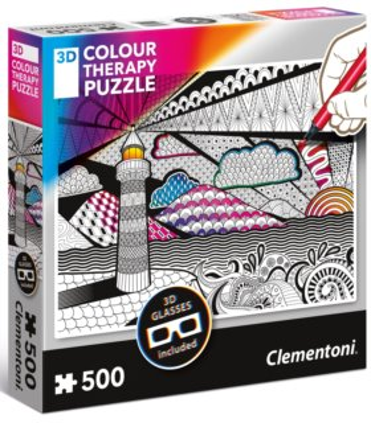 CLEMENTONI Colour Therapy puzzle Maják 500 dílků + 3D brýle