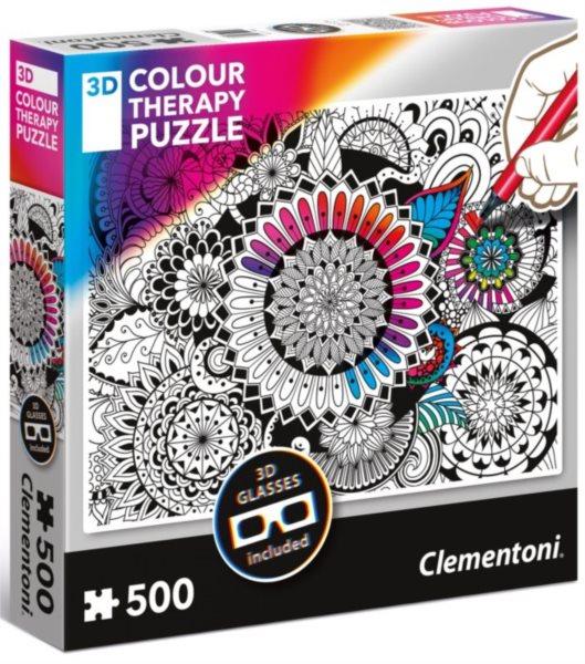 CLEMENTONI Colour Therapy puzzle Mandala 500 dílků + 3D brýle