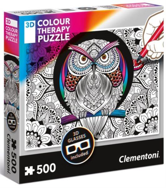 CLEMENTONI Colour Therapy puzzle Sova 500 dílků + 3D brýle