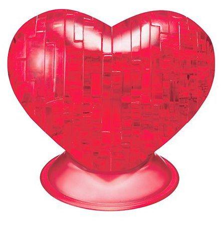 3D Crystal puzzle (krystalové puzzle) - Srdce transparentní červené 46 dílků