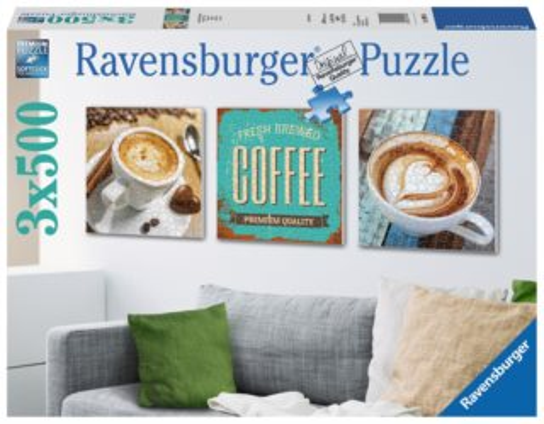 Čtvercové puzzle RAVENSBURGER 3x500 dílků - Čas na kávu
