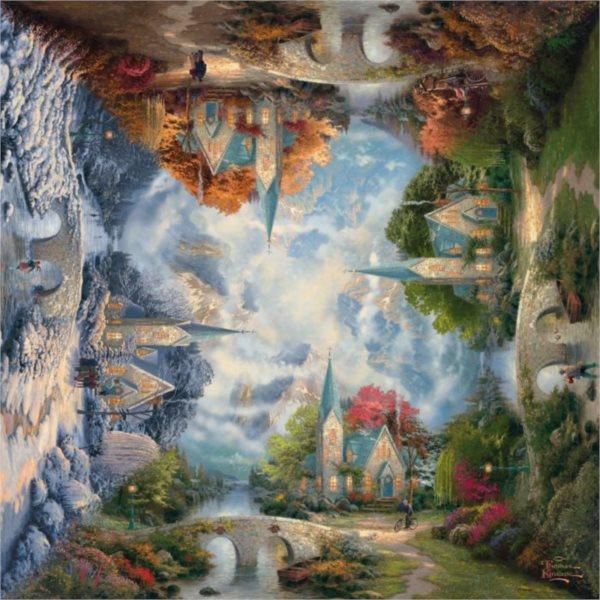 Čtvercové puzzle SCHMIDT 1000 dílků - Thomas Kinkade: Kostel v horách