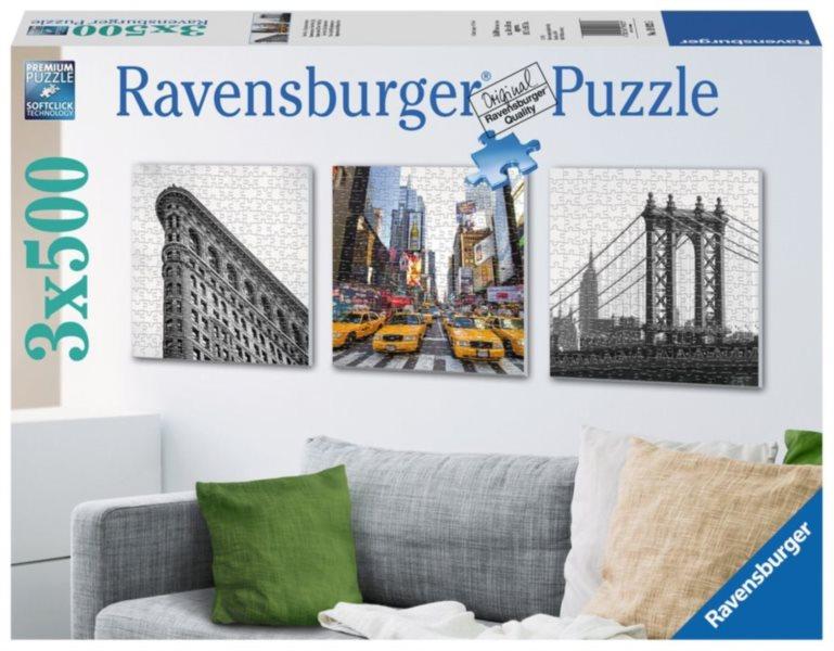 RAVENSBURGER Čtvercové puzzle New York 3x500 dílků