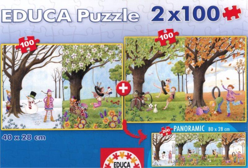 Dětské puzzle EDUCA - Čtyři roční období 2x100 dílků