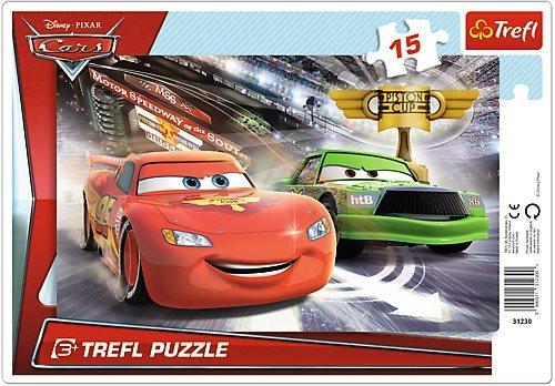 Deskové puzzle pro děti 15 dílků - Auta: Závod o pohár