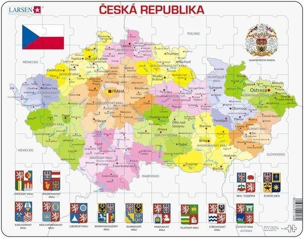 LARSEN Puzzle Česká republika - kraje 70 dílků