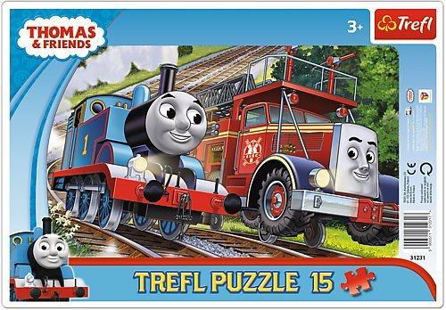 Deskové puzzle pro děti 15 dílků - Mašinka Tomáš a hasič Flynn