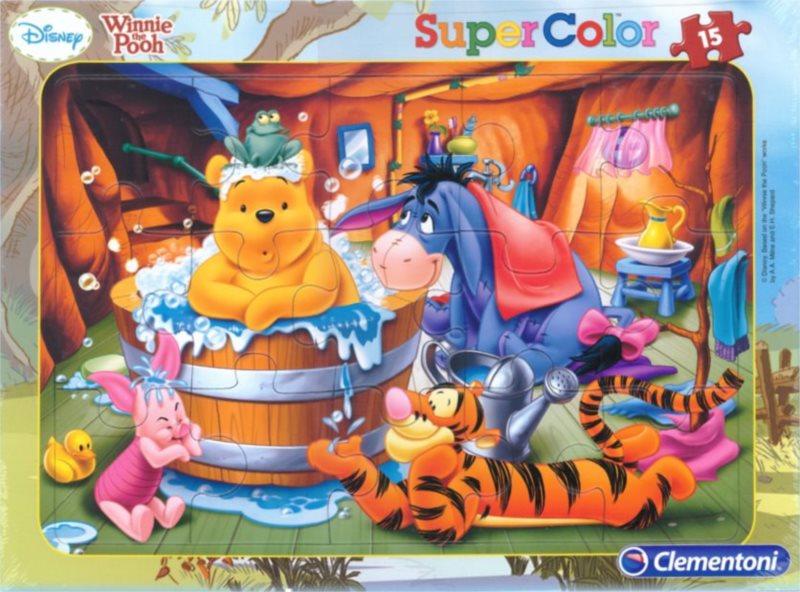 Deskové puzzle CLEMENTONI 15 dílků - Medvídek Pú: Čas koupání