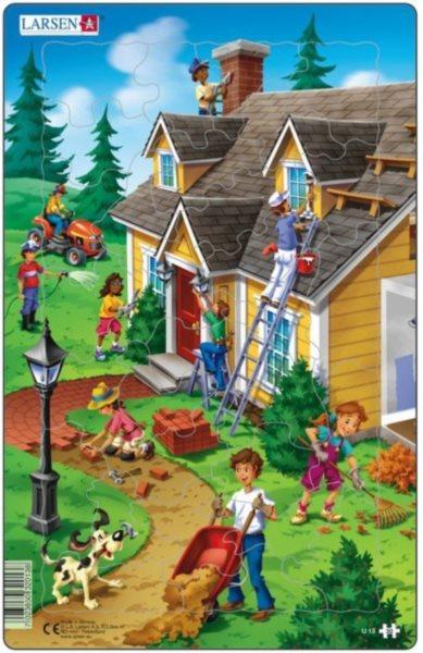 Dětské puzzle LARSEN 30 dílků - Stavba domu