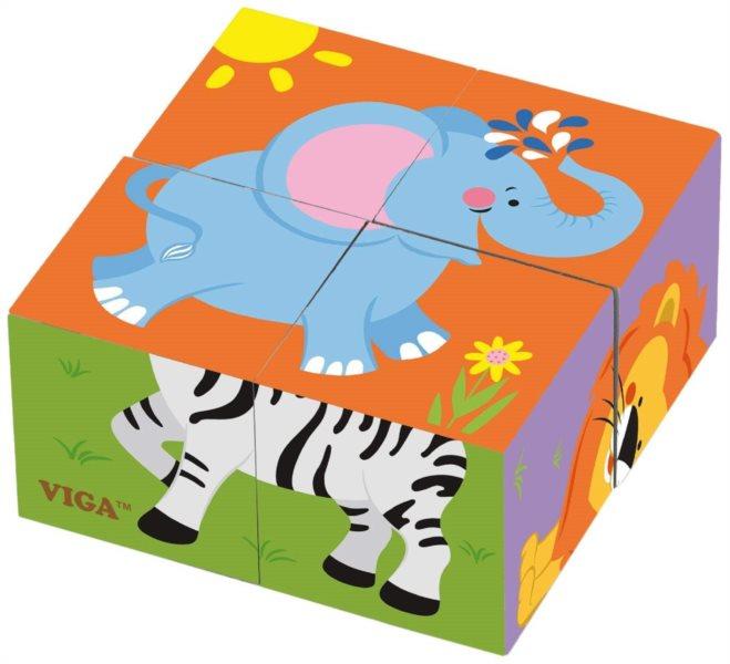 VIGA Obrázkové kostky Zoo, 4 kostky