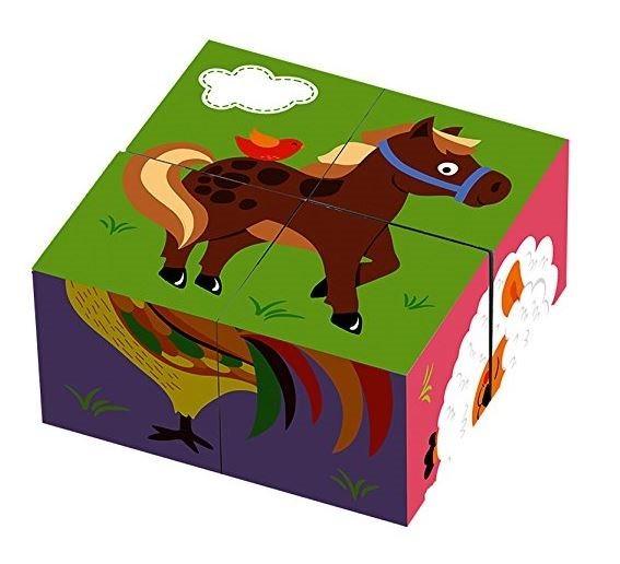 VIGA Obrázkové kostky Zvířátka na farmě, 4 kostky