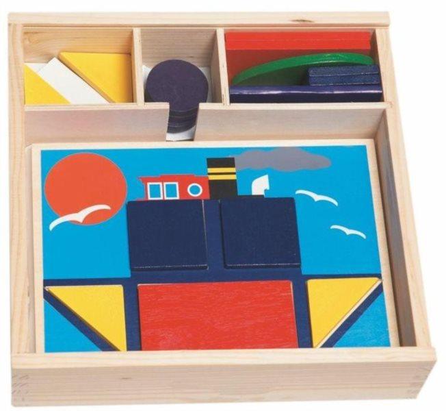 WOODY Dřevěné vkládací puzzle s tvary