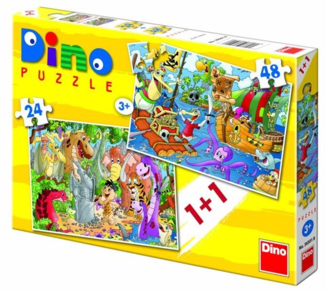 Dětské puzzle DINO - Dinosauři a piráti 24+48 dílků