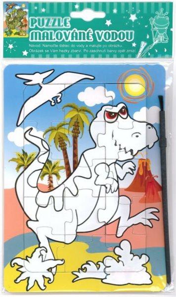 Puzzle s vodním malováním 15 dílků - Dinosaurus