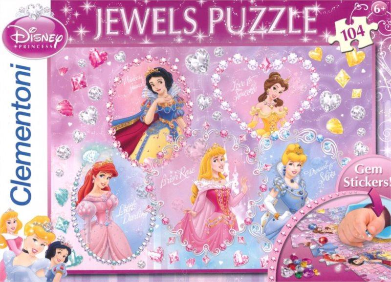 CLEMENTONI Puzzle s drahokamy Disney Princezny 104 dílků