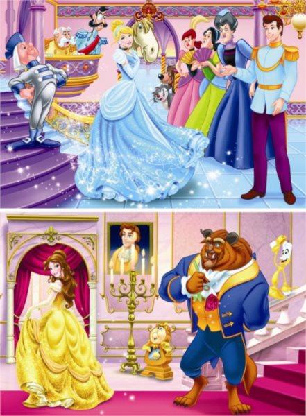 Dětské puzzle DINO 2x 66 dílků - Disney princezny 2v1
