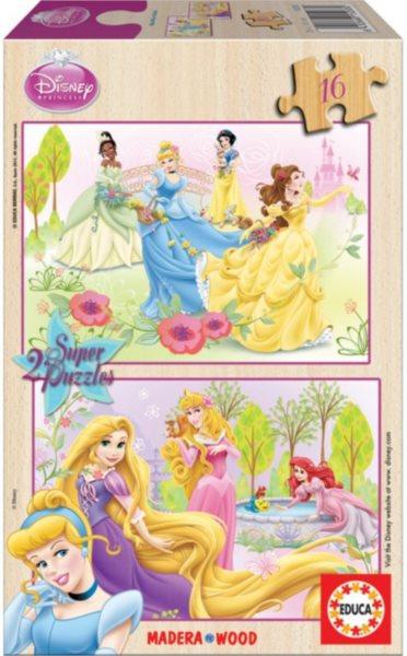 EDUCA Dřevěné puzzle Disney princezny 2x16 dílků