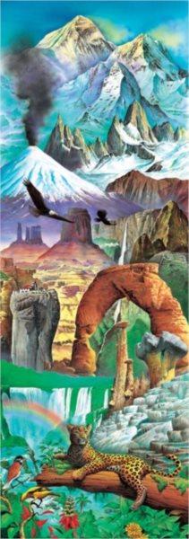 EDUCA Vertikální puzzle Divy přírody - koláž 2000 dílků