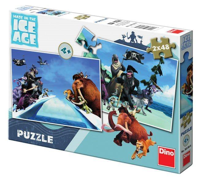 DINO Puzzle Doba ledová 4: Země v pohybu 2x48 dílků