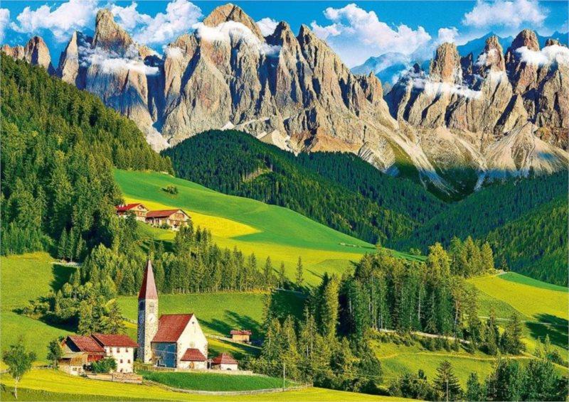 Puzzle TREFL 500 dílků - Kostel pod horami, Dolomity