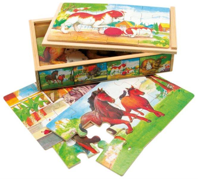 BINO Dřevěné puzzle Domácí zvířata 4x12 dílků