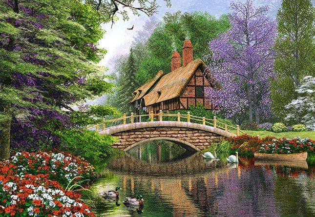 CASTORLAND Puzzle Domek u řeky 1000 dílků
