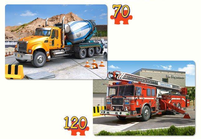 CASTORLAND Dětské puzzle 2v1 - Domíchávač a hasiči 70+120 dílků