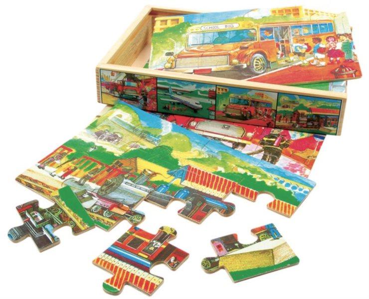 Puzzle BINO 88014 Doprava, 4x12 dílků - Dřevěné puzzle pro děti
