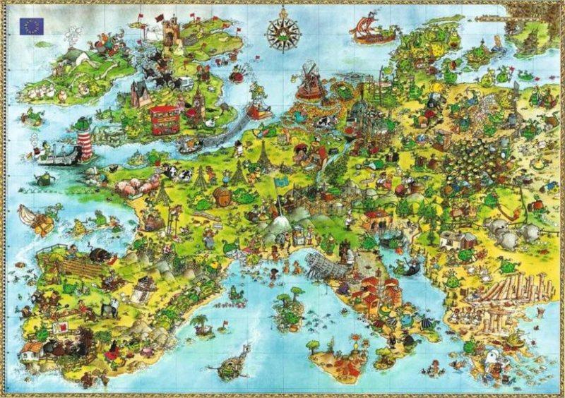 Puzzle HEYE 4000 dílků - Degano, Draci - Mapa Evropy , Triangular