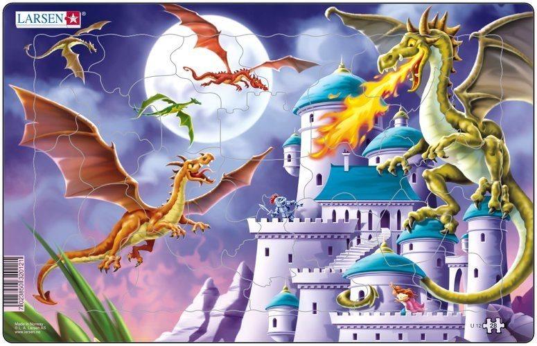 Dětské puzzle LARSEN 28 dílků - Draci u hradu