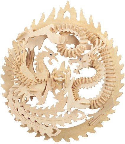 3D dřevěné puzzle - Drak a fénix 3D