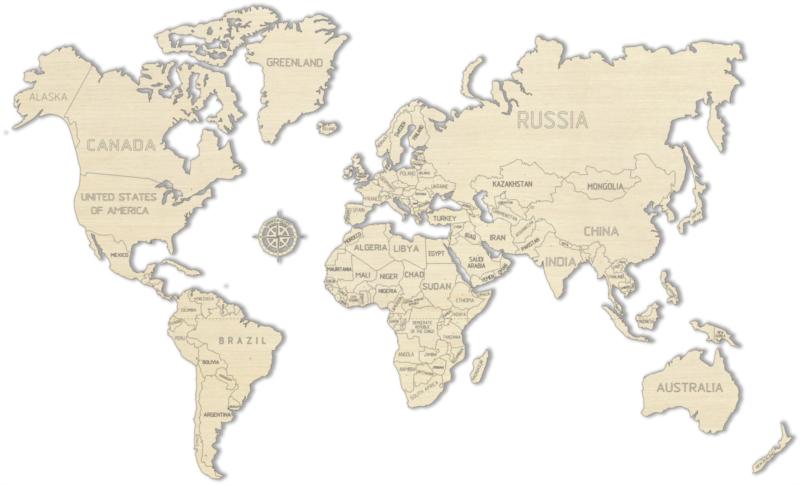 WOODEN CITY Dřevěná mapa světa velikost L (83x55cm)