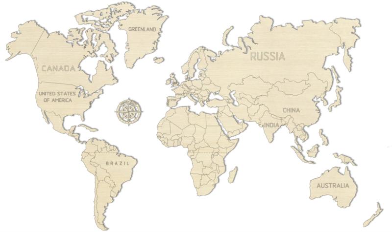 WOODEN CITY Dřevěná mapa světa velikost M (57x38cm)