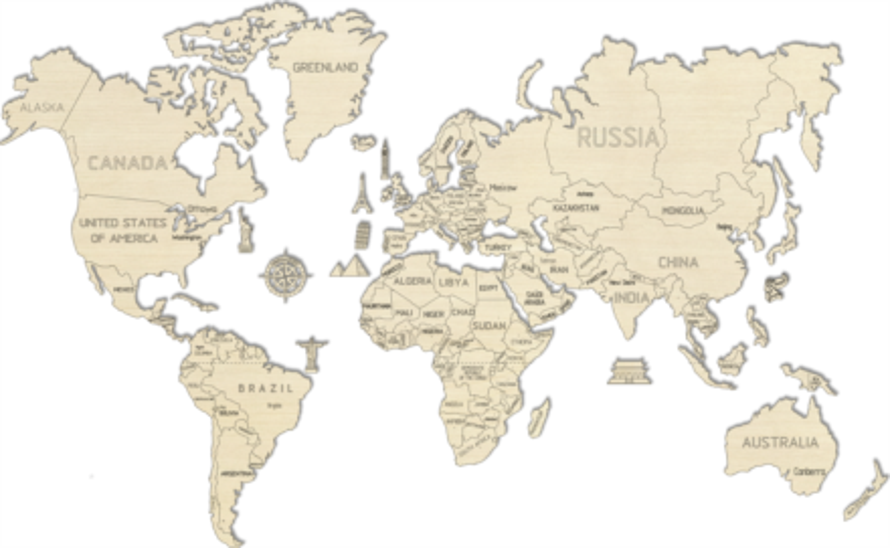 WOODEN CITY Dřevěná mapa světa velikost XL (120x80cm)