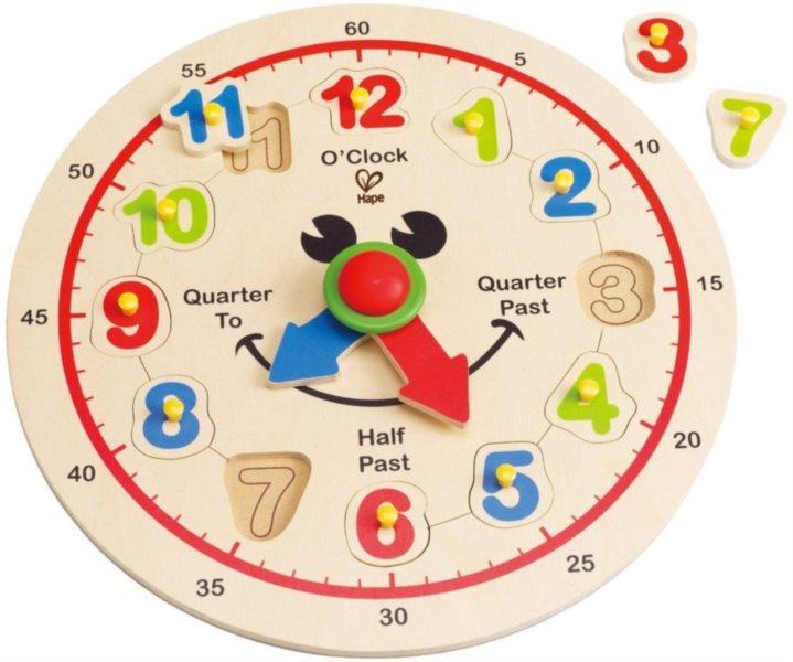 HAPE Dřevěné hodiny - vkládačka číslice