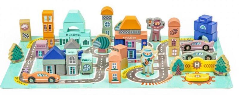 ECOTOYS Dřevěné kostky s puzzle Město