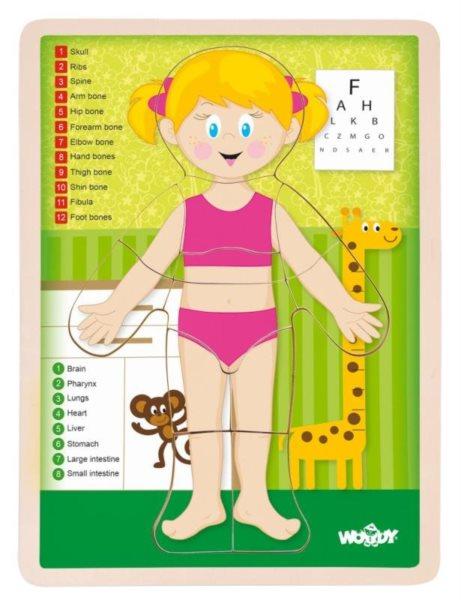 WOODY Oboustranné puzzle Lidské tělo - Dívka (anglicky)