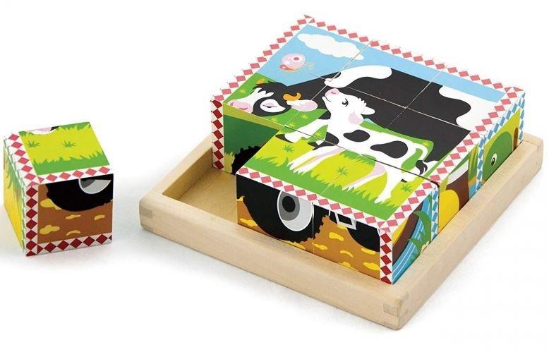 VIGA Dřevěné obrázkové kostky Zvířátka na farmě, 9 kostek