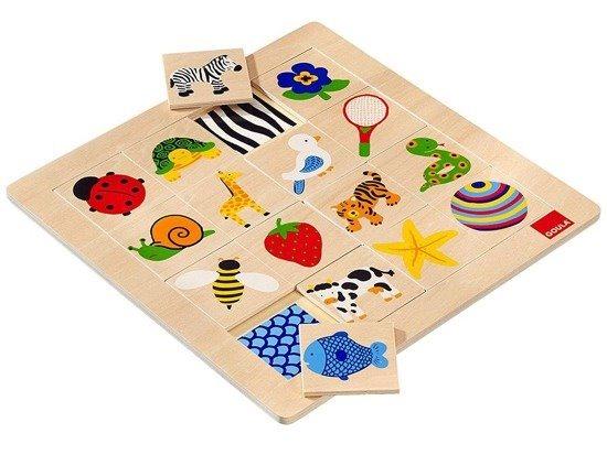 Dřevěné puzzle Zvířátka a předměty 16 dílky