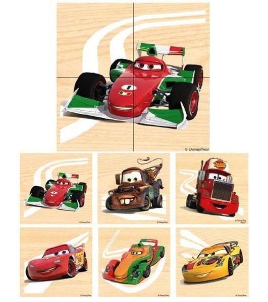 PLAYME Dřevěné puzzle Auta 6x4 dílků
