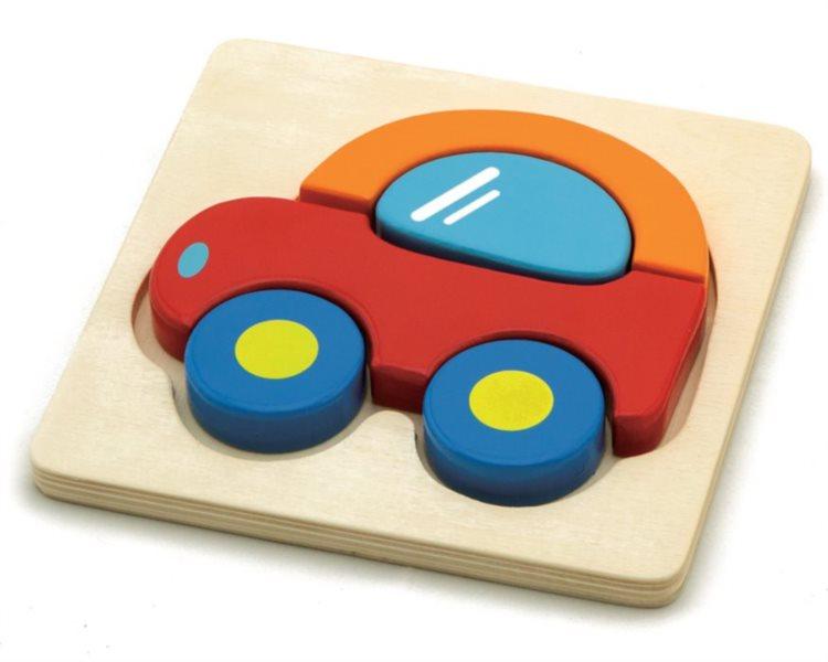 STUDO WOOD Dřevěné puzzle Autíčko 5 dílků