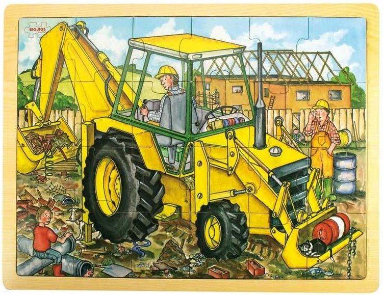 BIGJIGS Dřevěné puzzle Bagr 24 dílků