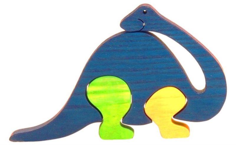 FAUNA Dřevěné puzzle Brontosaurus malý