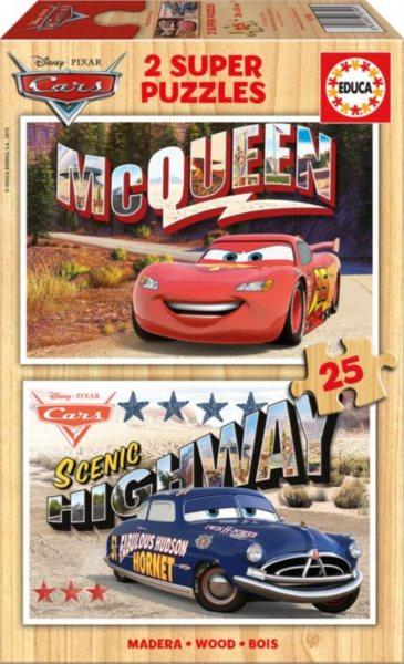 Dřevěné puzzle EDUCA - Cars (Auta) 2x25 dílků